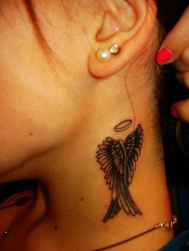 neck wings tattoo