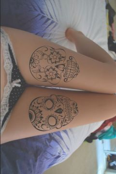 double sugar skull tattoo