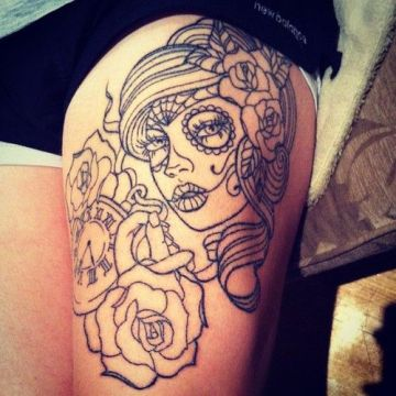 beautiful sugar skull face tattoo 4