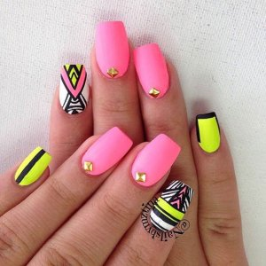 neon-matte-tribal-nails-spring-nail-art-designs-OPT [105680]