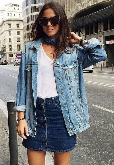 different color denim jacket