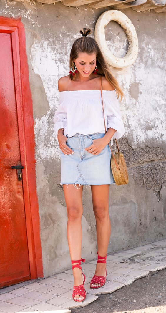 off shoulder shirt with denim skirt