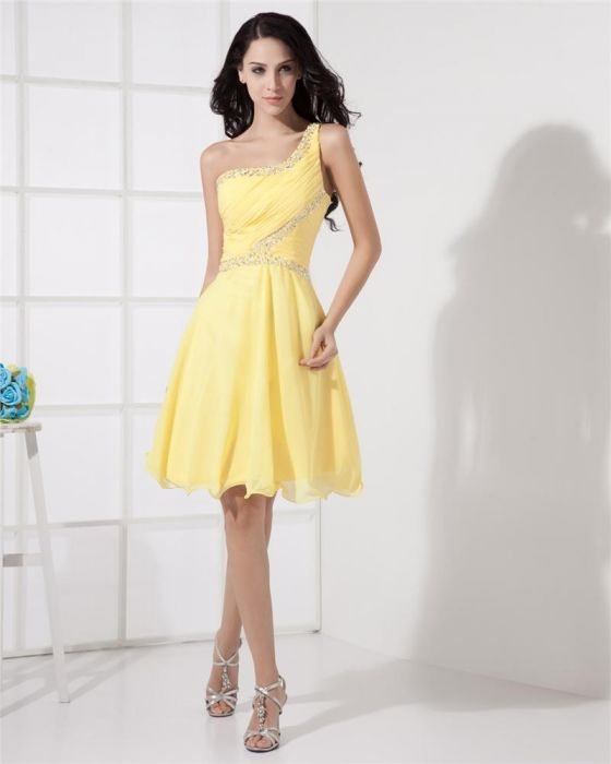 one shoulder yellow cocktail dress