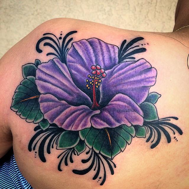 purple hawaiian flower tattoo