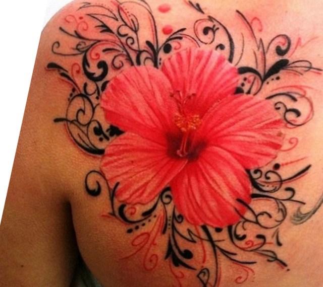 red hawaiian flower tattoo