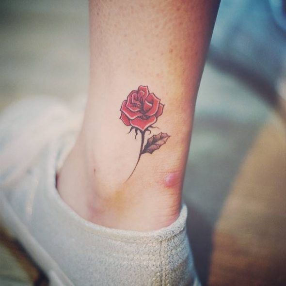 small rose tattoo on ankle