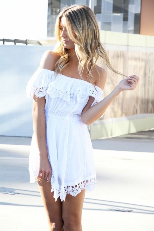 white boho cocktail dress off the shoulder