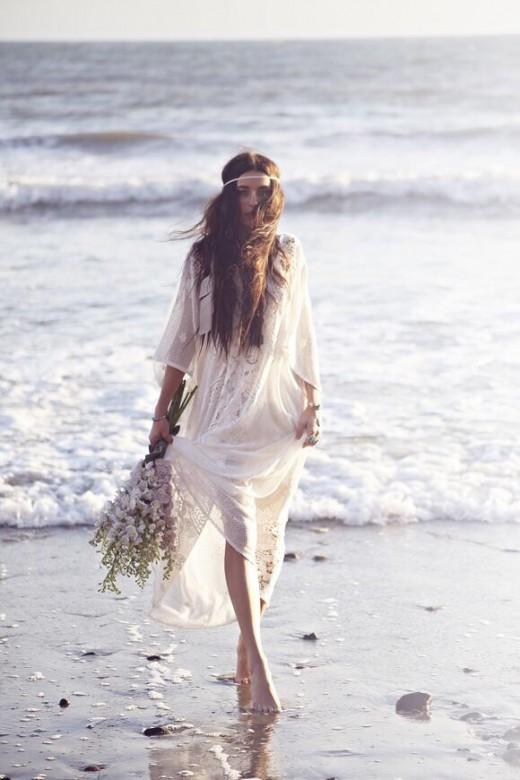 white boho wedding dress lace