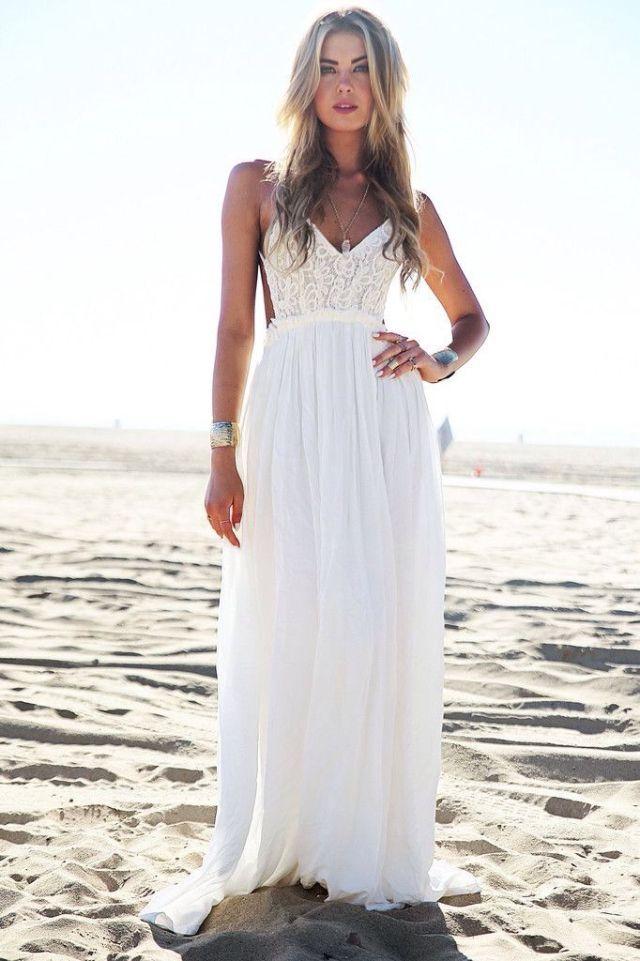 white boho wedding dress long flowy