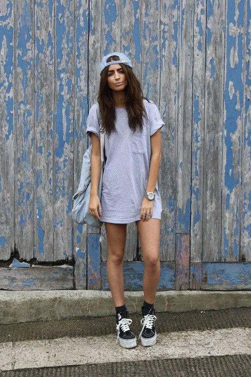baseball cap t shirt dress outfit