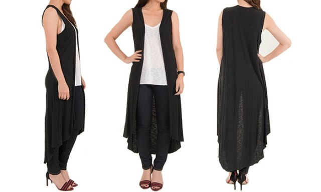 black and white long sleeveless cardigan outfit