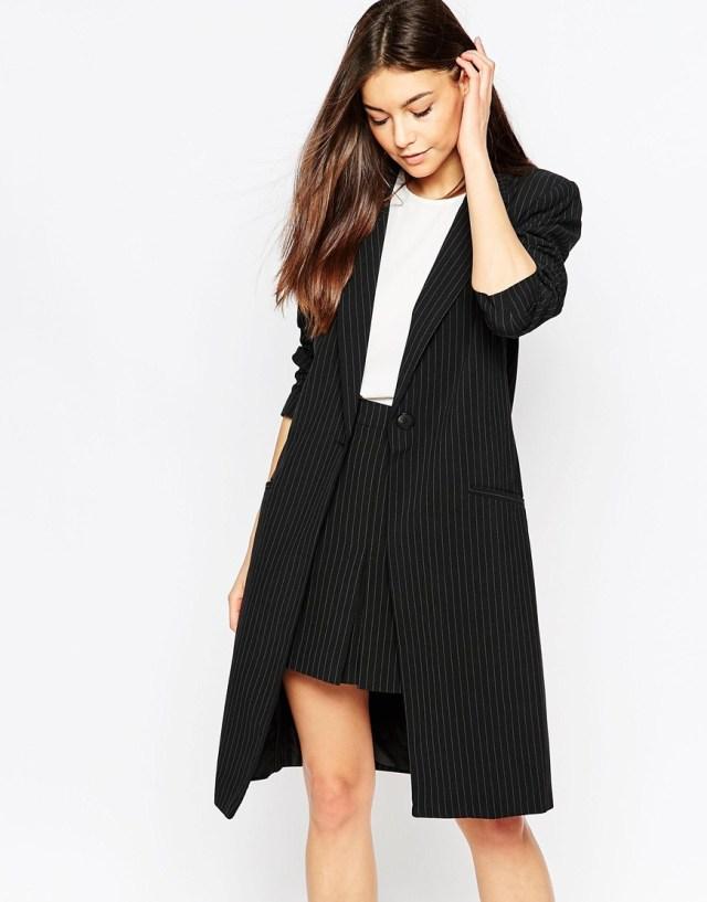 black longline blazer with skirt work