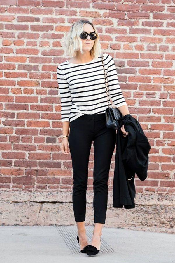 black striped sweater capri jeans