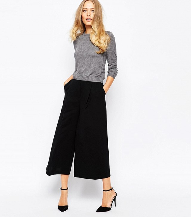 black wide leg capri pants sweater