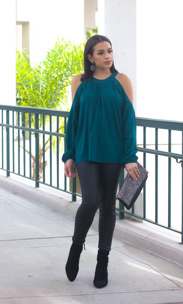 cold shoulder blouse leather leggings