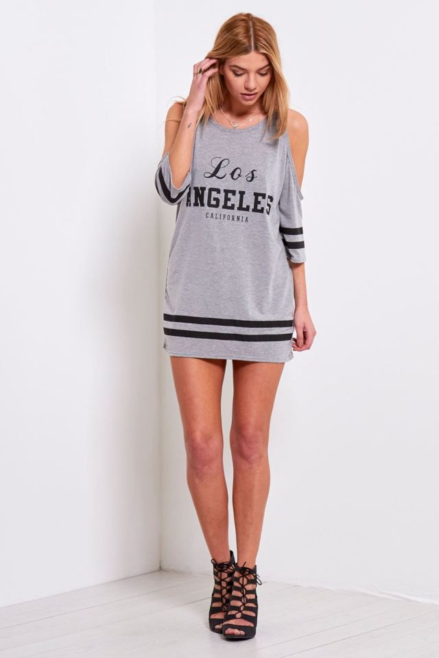 cold shoulder long sleeve t shirt dress