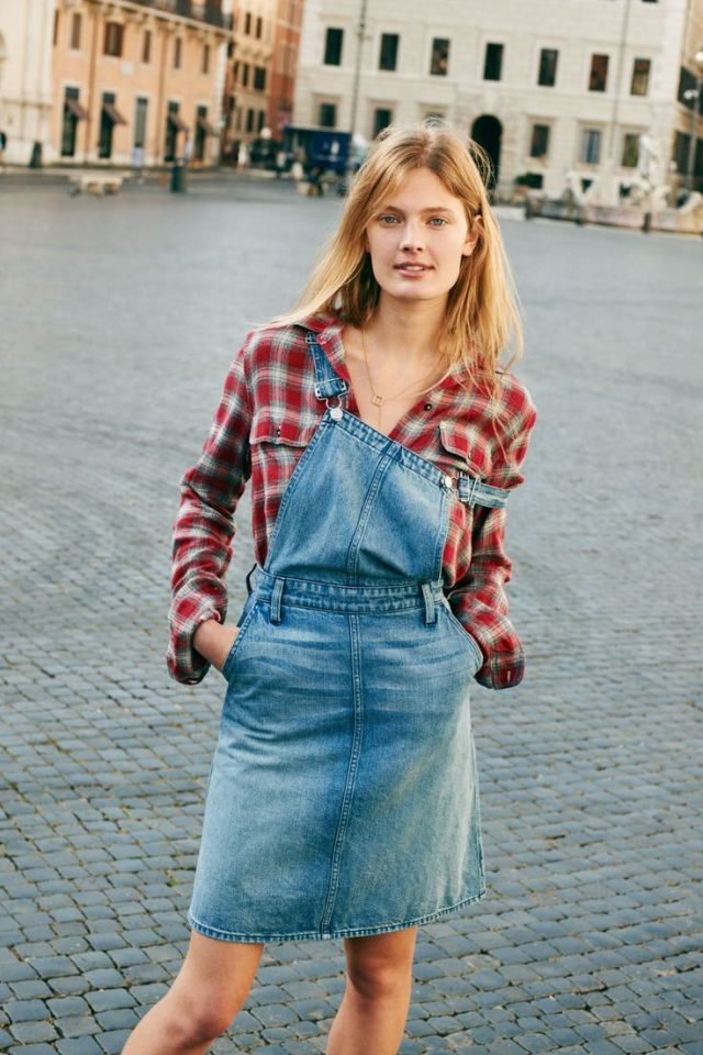 denim overall skirt boyfriend shirt