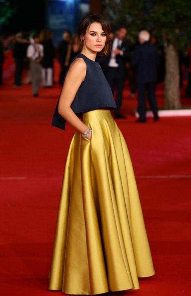 gold high waisted maxi skirt