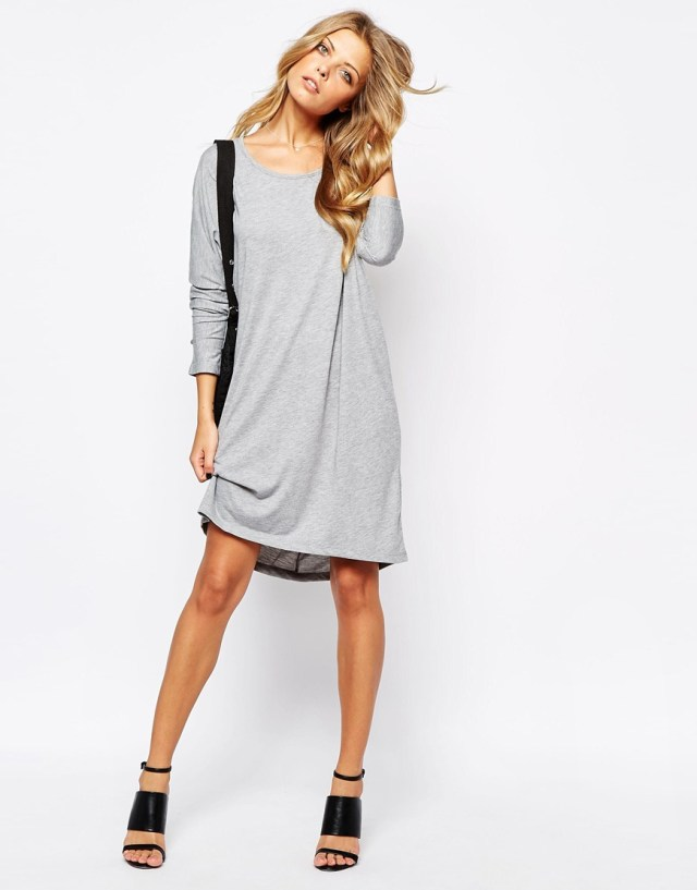 heather gray long sleeve t shirt dress outfit