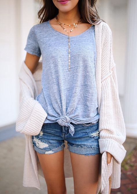 knotted t shirt denim shorts