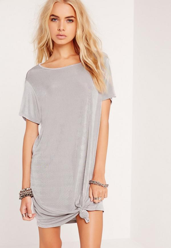 knotted t shirt dress outfit