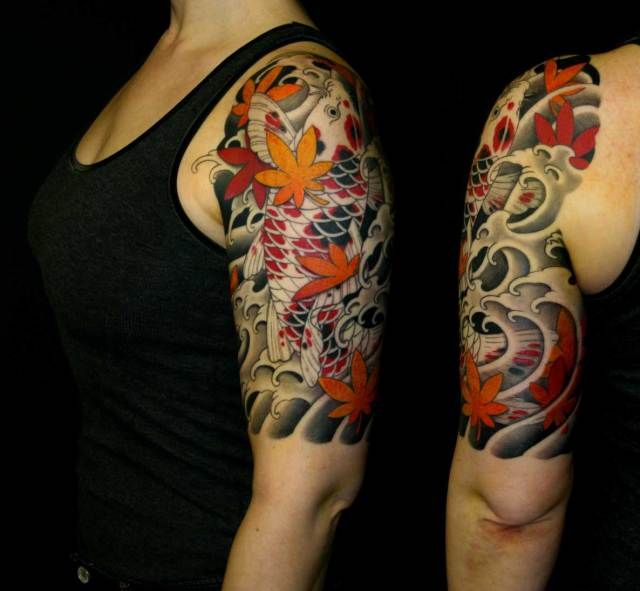 koi fish and maple leaves tattoo