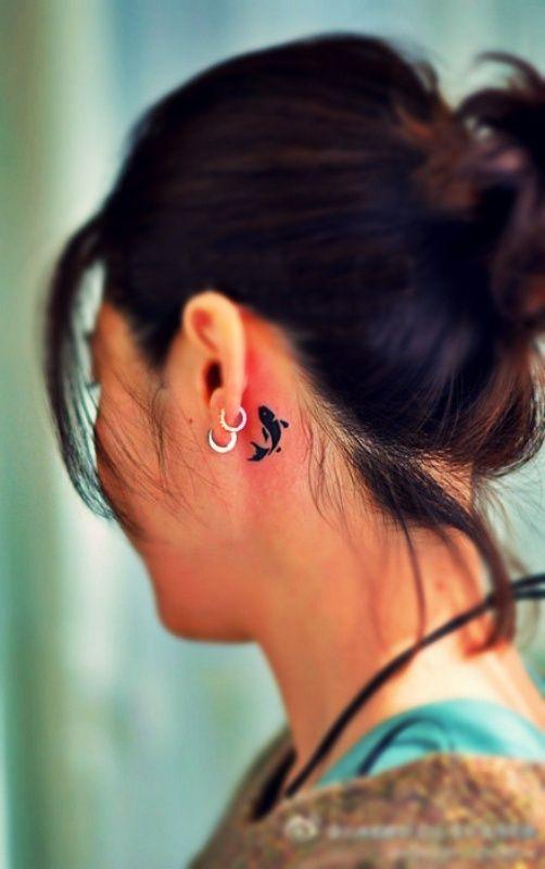 koi fish tattoo behind ear