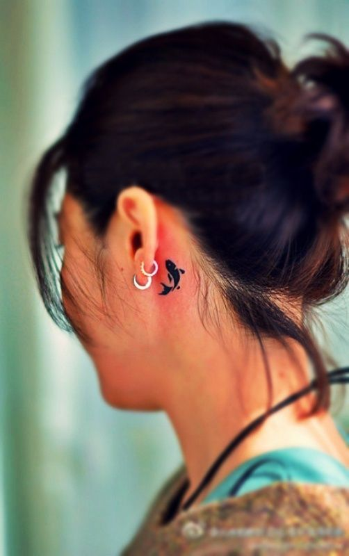 koi fish tattoo behind ear