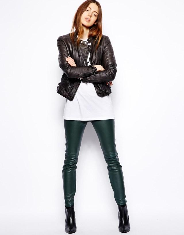 leather jacket long t shirt leather leggings