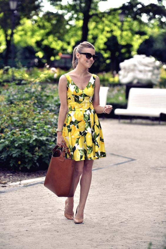 lemon pattern yellow sundress