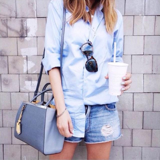 light blue boyfriend shirt outfit idea