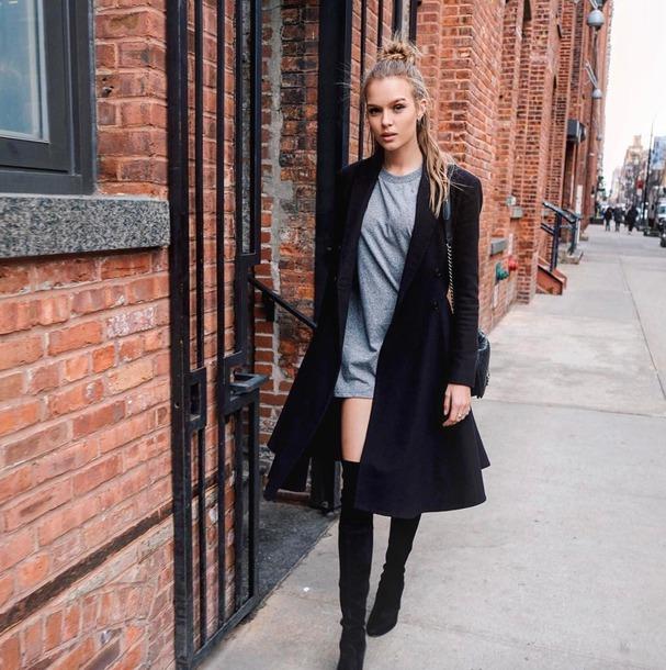 long sleeve t shirt dress coat boots