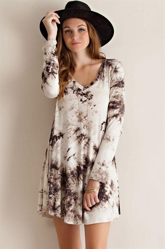 long sleeve tie dye t shirt dress