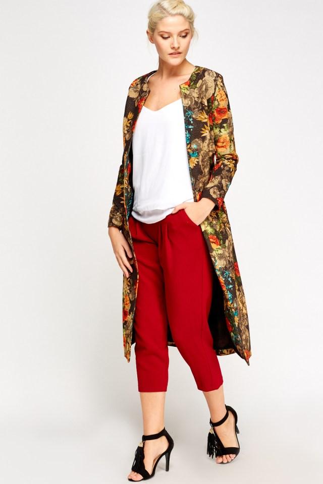 longline floral jacket