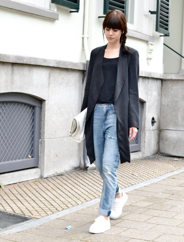 lovely long coat boyfriend jacket outfit