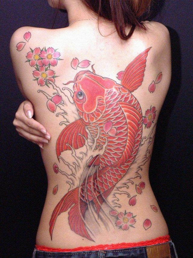 red koi tattoo full back