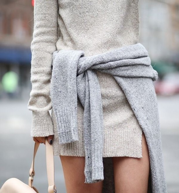 sweater dress cardigan tied around the waist