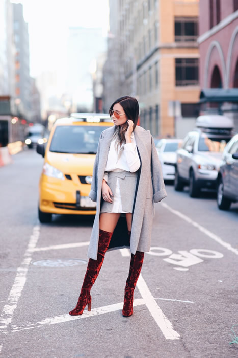 velvet burgundy thigh high boots outfit