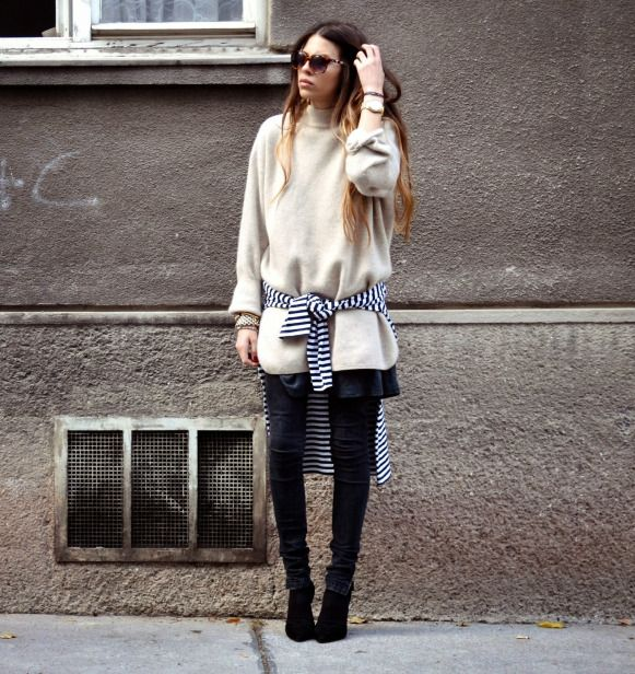 white comfy sweater tie waist striped tee