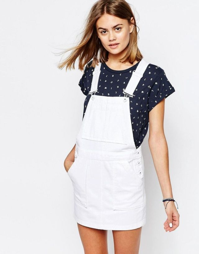 white denim overall skirt black t shirt