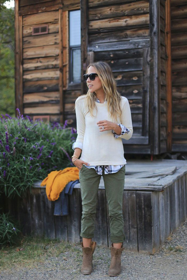 white sweter cargo pants outfit