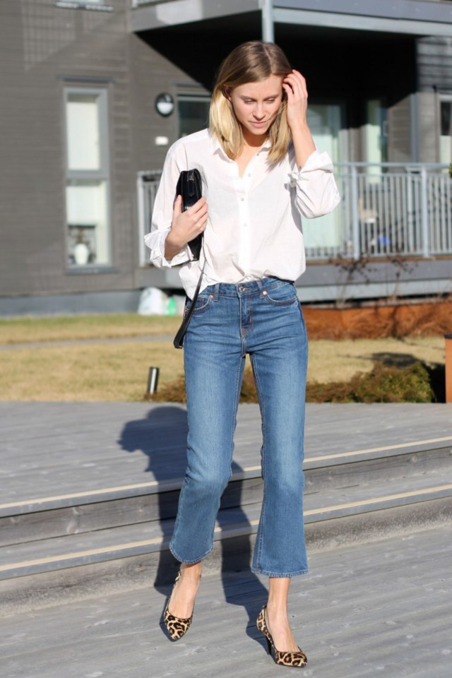 wide leg capri jeans white blouse