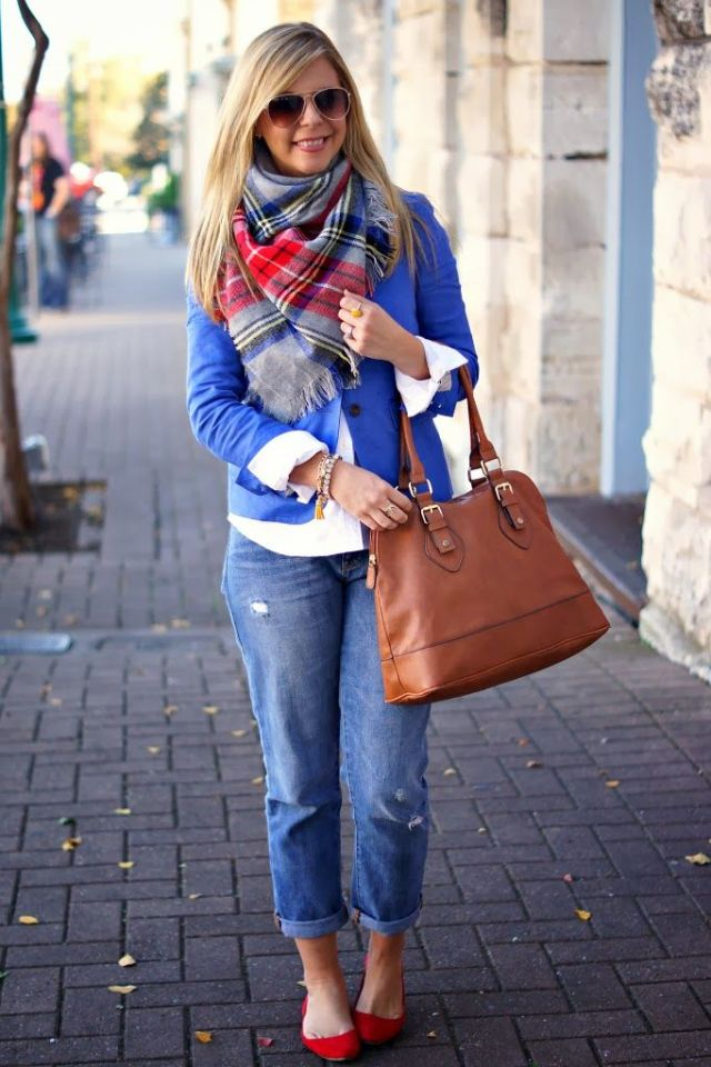winter scarf boyfriend jeans