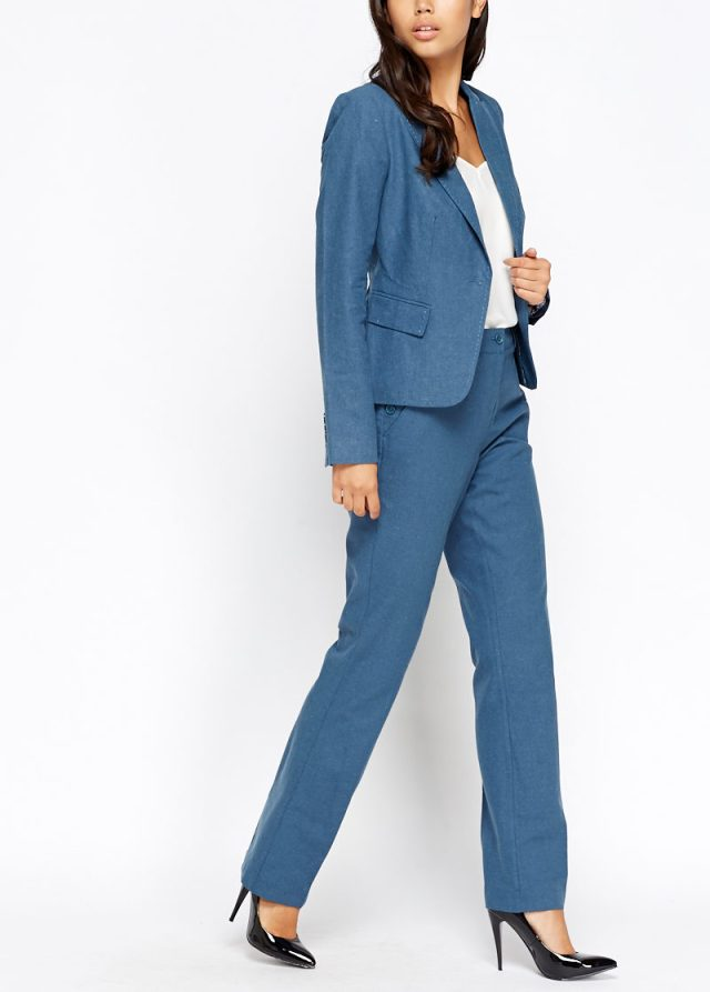 woman sharp blue suit