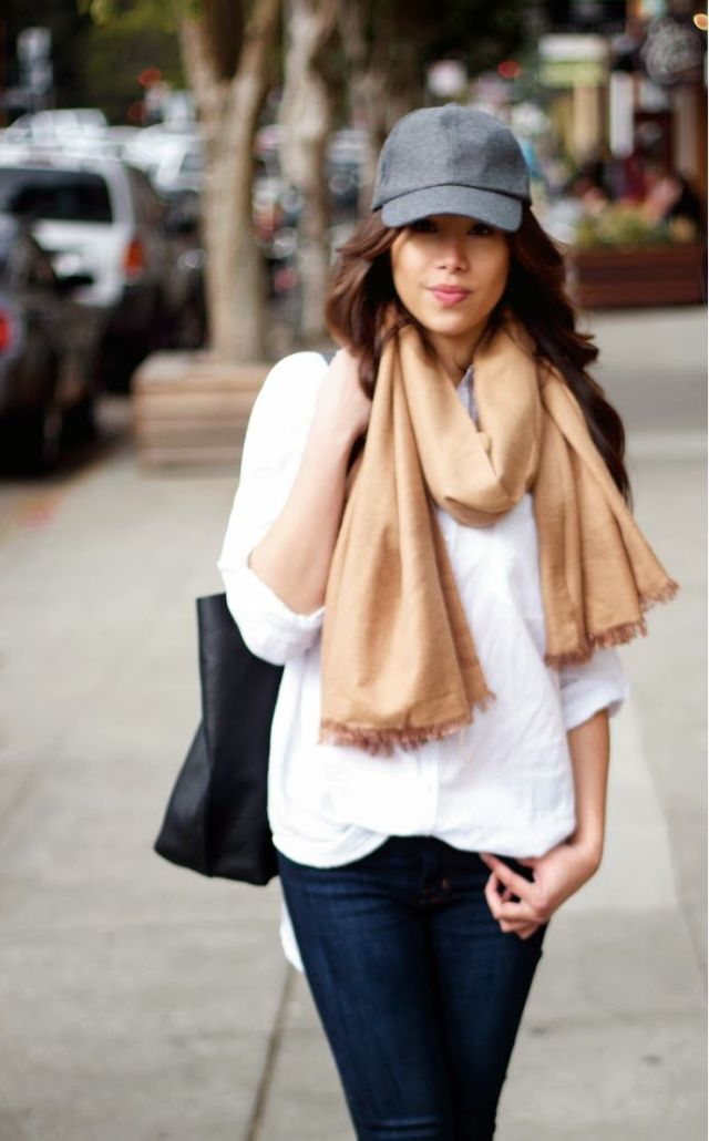 wool baseball cap with scarf