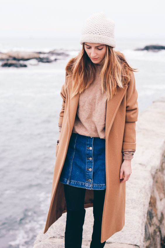 camel coat denim skirt