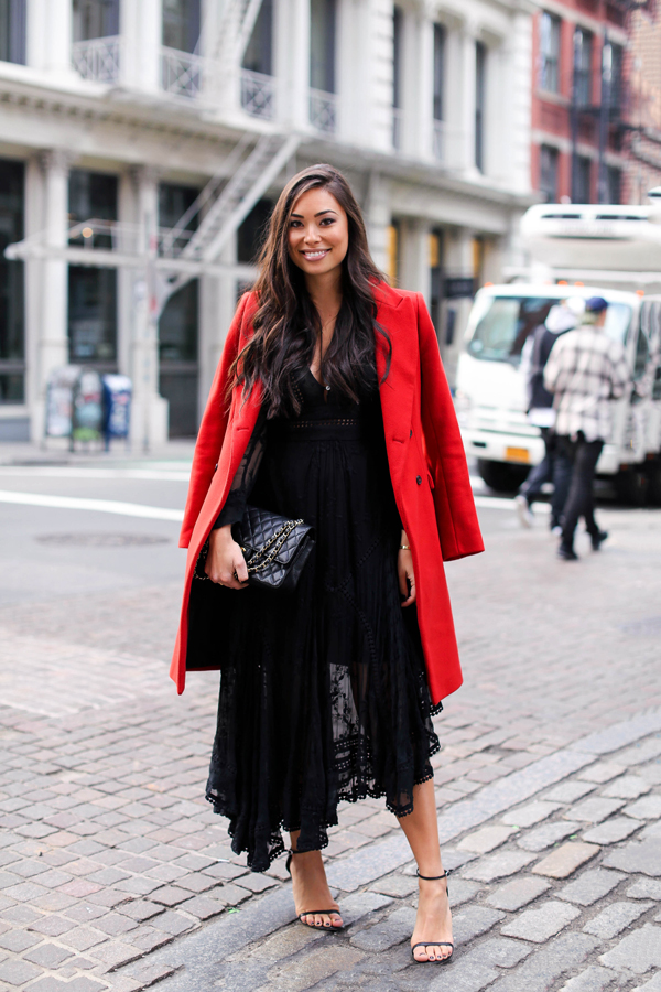 lace dress outfit red coat