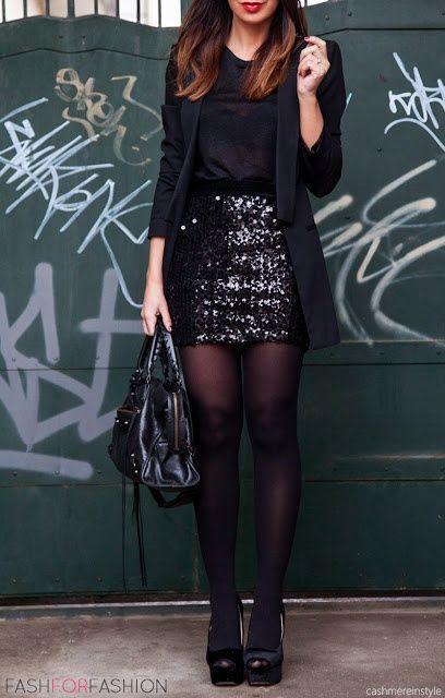 sequin skirt all black