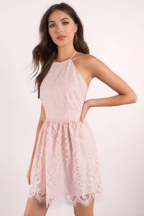 baby pink lace halter dress mini