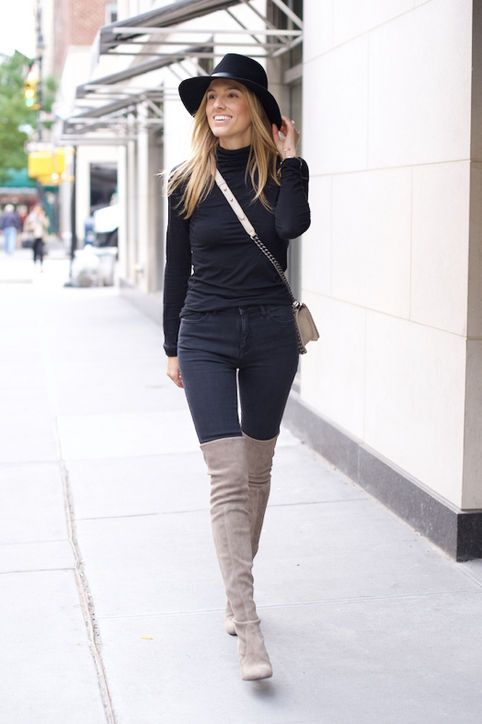 black jeans grey thigh high boots